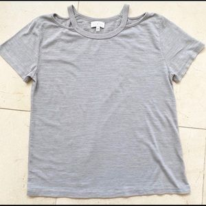 Lucky Brand Grey T Shirt with Shoulder Cut Out